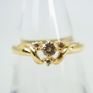 K18 淡ブラウンダイヤモンド リング 9号[g139-8](リング(指輪))