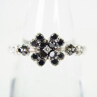 K14WG ブラックダイヤモンド リング 13.5号[g140-10] (リング(指輪))