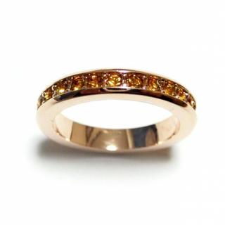 14号 フルエタニティ スワロフスキー トパーズ ピンクゴールドリング(リング(指輪))