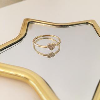 アーカー(AHKAH)の美品 AHKAH ハートパヴェ リング 7号 アーカー ダイヤモンド(リング(指輪))
