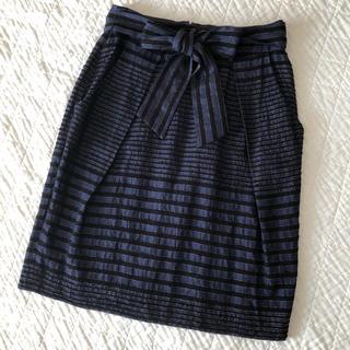 トゥモローランド(TOMORROWLAND)のballsey パイルラメボーダー リボンスカート(ひざ丈スカート)