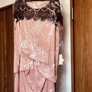 ストロベリーフィールズ(STRAWBERRY-FIELDS)の新品パーティードレスレースピンク(ミディアムドレス)