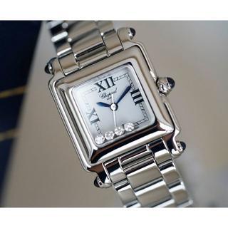ショパール(Chopard)の美品 ショパール ハッピースポーツ 4P ダイヤモンド スクエア シルバー(腕時計)