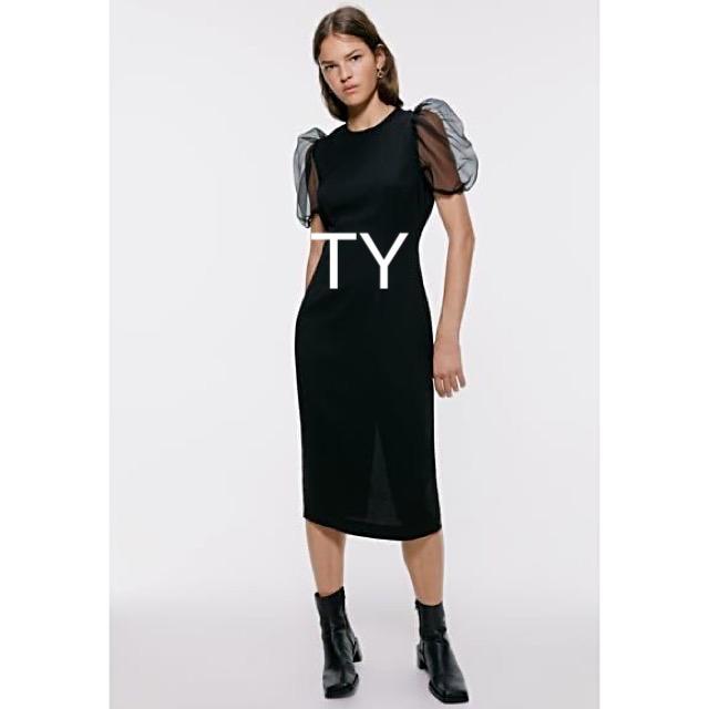ZARA(ザラ)の完売品 ザラ L バルーンスリーブ ペンシル ワンピ パフスリーブ チュール 黒 レディースのフォーマル/ドレス(ロングドレス)の商品写真
