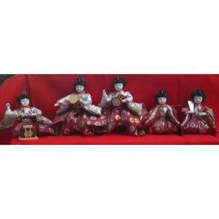 日本の伝統飾り、お雛様「五人囃子」5体時代物コレクション!!0131(その他)