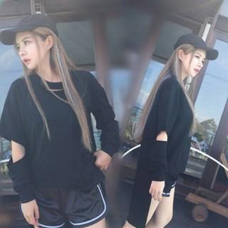 Lサイズ ダメージトップス Tシャツ ブラック(Tシャツ(長袖/七分))