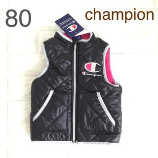 Champion - ☸️【 80 】 チャンピオン  裏ボア ベスト 黒 ピンク
