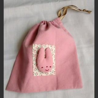 ハンドメイド  巾着  コップ袋  ピンク(バッグ/レッスンバッグ)