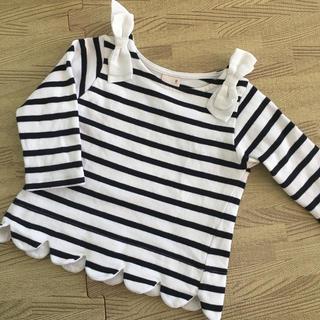 プティマイン(petit main)のプティマイン 裾スカラップ ボーダー カットソー 90(Tシャツ/カットソー)
