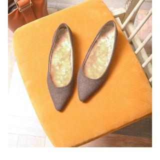 ポインテッドトゥ パンプス ファーインソール 1cmヒール 23.0 ブラウン(ハイヒール/パンプス)