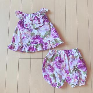 西松屋 - フラワーセットアップ お花柄 パープル 紫 80