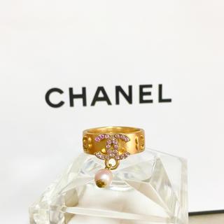 シャネル(CHANEL)の正規品 シャネル 指輪 ゴールド ココマーク ピンクストーン パール リング 4(リング(指輪))