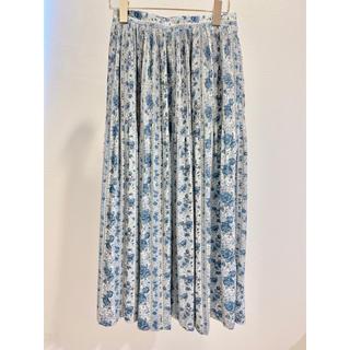 ロキエ(Lochie)のvintage 花柄 プリーツスカート ブルー 青 水色 ホワイト 白(ロングスカート)