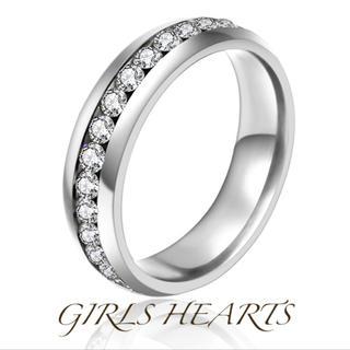 送料無料7号クロムシルバースーパーCZダイヤステンレスフルエタニティリング指輪(リング(指輪))