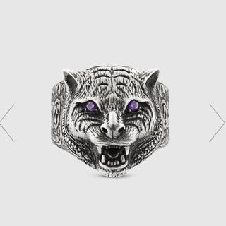 グッチ(Gucci)の定価63800円 キャット ヘッドリング クリスタル(リング(指輪))