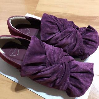 メリージェニー(merry jenny)のメリージェニー スエードライクリボンシューズ(ローファー/革靴)