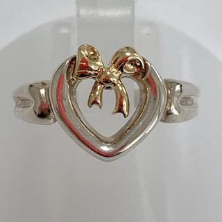 ティファニー(Tiffany & Co.)のティファニー 925 オープンハートリボンリング 10号 k18 sv(リング(指輪))