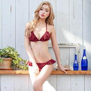 エイチアンドエム(H&M)の【ほぼ未使用】赤 レッド ビキニ 水着 フリル 紐(水着)