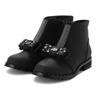 アナスイミニ(ANNA SUI mini)のビジューつきリボンショートブーツ 18センチ(ブーツ)