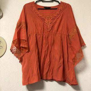 オレンジのチュニック風ブラウス(LL)(シャツ/ブラウス(半袖/袖なし))
