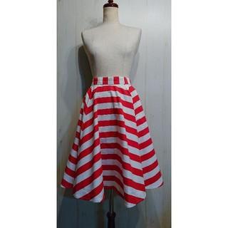 リルリリー(lilLilly)のLil Lilly リルリリー ボーダーフレアスカート(ひざ丈スカート)