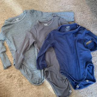 エイチアンドエム(H&M)の長袖ロンパース 3枚(肌着/下着)