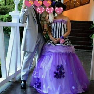 ウェディングカラードレス花嫁披露宴花紫 妊婦さんにも (ウェディングドレス)
