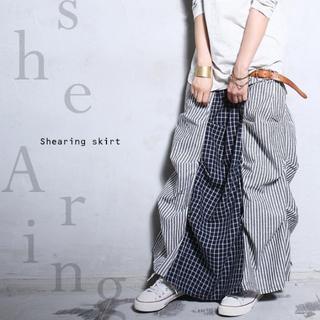 アンティカ(antiqua)の新品タグ無し☆彡【antiqua】チェック ストライプ 変形 ロング スカート(ロングスカート)