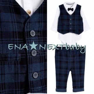 NEXT - next♡ネクスト ネイビー チェック コーデュロイパンツ&ベスト&ボディスーツ