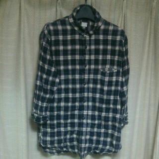 インフルエンス(Influence)のquadro シワ加工 七分袖シャツ サイズ3 チェックシャツ アメカジ 古着屋(シャツ)