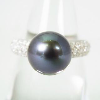 Pt900 南洋黒蝶真珠ダイヤモンド リング 14号 [g141-4](リング(指輪))