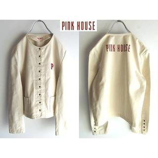 ピンクハウス(PINK HOUSE)の希少 ピンクハウス ロゴプリント 多連スナップ ノーカラージャケット M(ノーカラージャケット)