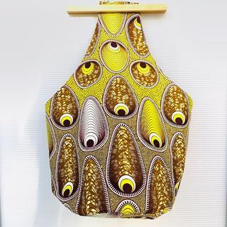 イエロー アフリカ布 しずくバッグ ハンドメイド バオバブ神戸(ショルダーバッグ)