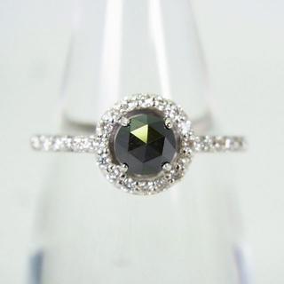K14WG ブラックダイヤモンド リング 14号 [g143-3] (リング(指輪))