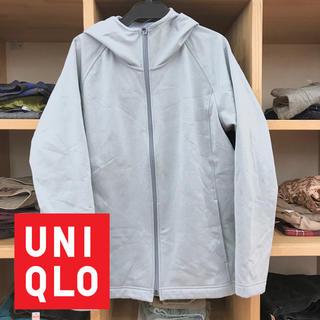 ユニクロ(UNIQLO)のユニクロWOMANブロックテックフリースフルジップパーカー(XL、グレー)(パーカー)