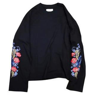 ジエダ(Jieda)のJieDa FLOWER EMBROIDERY L/S BLACK サイズ1(Tシャツ/カットソー(七分/長袖))