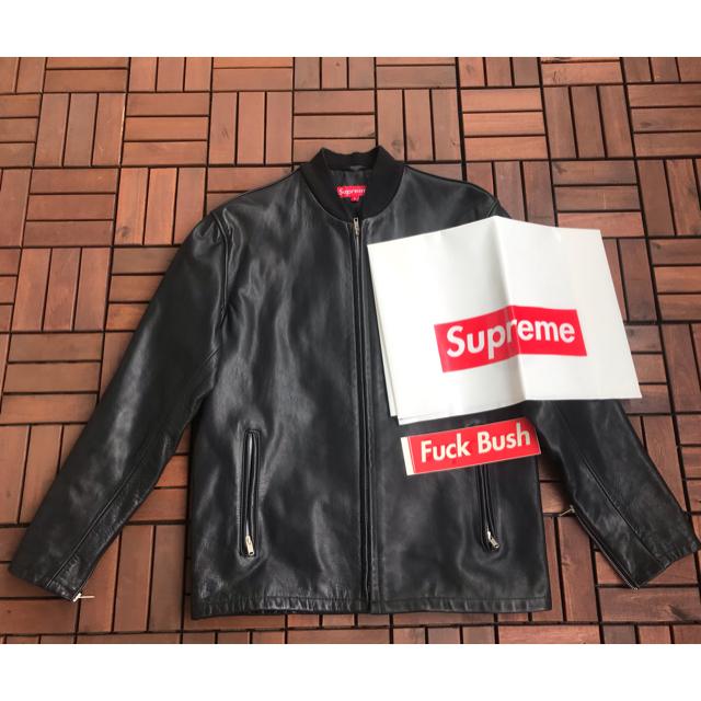 Supreme(シュプリーム)のデッドストック!Supreme Schott Leather Jacket 黒L メンズのジャケット/アウター(レザージャケット)の商品写真