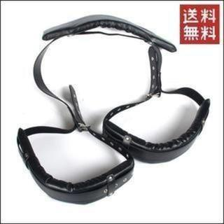 コスプレグッズ レッグバンド両足 拘束具 レザー ブラック 黒(小道具)