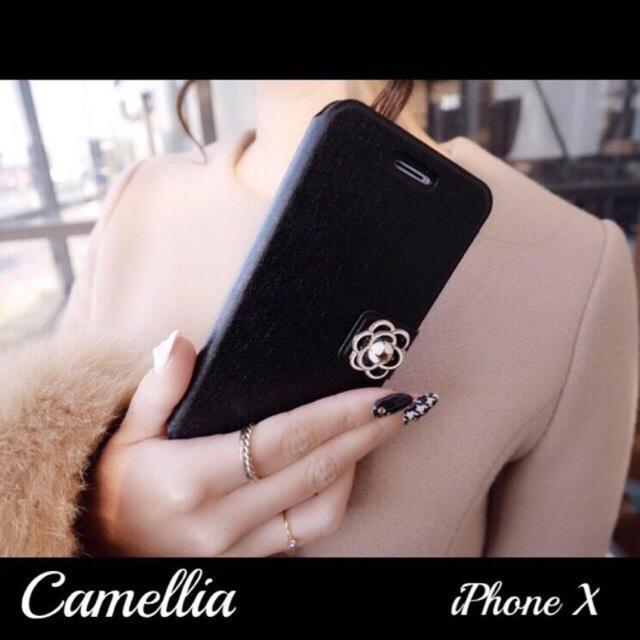 iPhoneX 訳あり特価 手帳型 大人可愛い カメリア ケース ブラック の通販