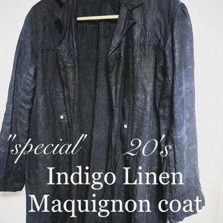 Maison Martin Margiela - ~20's Indigo Linen Maquignon Coat