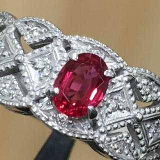 K18WG レッドスピネル 0.41ct ダイヤモンド 計0.10ct リング(リング(指輪))