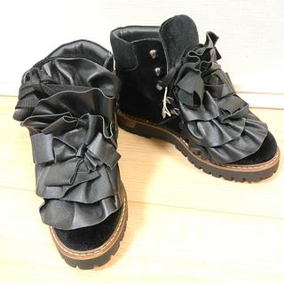 マメ(mame)のpokemaoke シューズ 厚底 ブーツ ショートブーツ ブラック ブーティー(ブーツ)