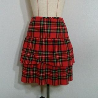 ヨークランド(Yorkland)のYORKLAND チェック柄 ひざ丈スカート サイズ7AR USED(ひざ丈スカート)