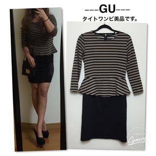 ジーユー(GU)のGU/ペプラムワンピ(ミニワンピース)