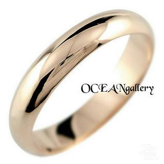 送料無料 14号 ピンクゴールド サージカルステンレス シンプル甲丸リング 指輪(リング(指輪))