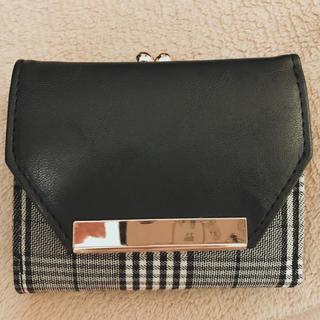 3つ折り財布  黒チェック(財布)