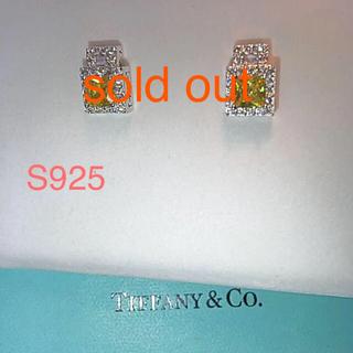 アガット(agete)の新品4つ爪デザインピアスシルバーイエローダイヤモンドS925プラチナコーティング(ピアス)