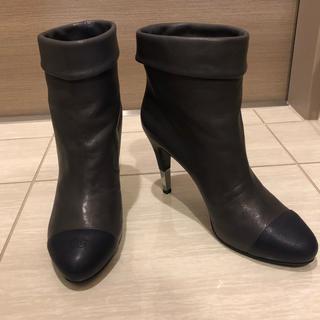 シャネル(CHANEL)のCHANEL ショートブーツ 正規品 希少パープルグレー(ブーツ)