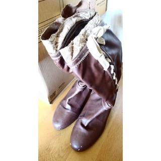 大きいサイズ ブーツ ロングブーツ 27.0 4E 幅広 ブラウン 茶 編み(ブーツ)