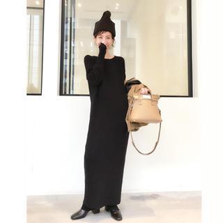 アパルトモンドゥーズィエムクラス(L'Appartement DEUXIEME CLASSE)のアパルトモン  Rib Knit ワンピース 黒 今季新品(ロングワンピース/マキシワンピース)